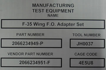 Chemical Etching - MANUFACTURING TEST EQUIPMENT - Stainless Steel Nameplate