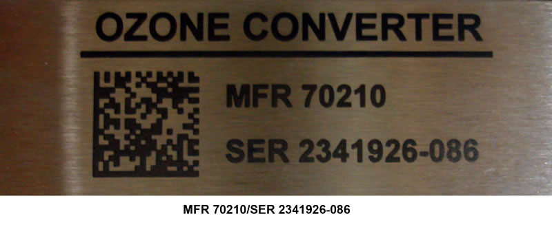 Laser Bonded Stainless Steel Nameplate Per Military Standard 130 Construct 1 Specification
