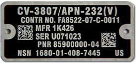 Anodized Aluminum IUID Nameplate with Matte Black Background and Mechanical Fastener Holes