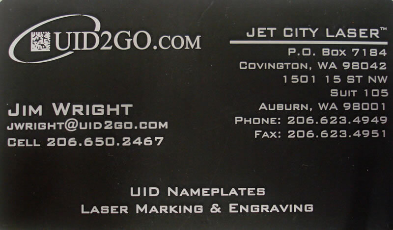 Laser Engraved Business Card Made Of Anodized Aluminum Stock