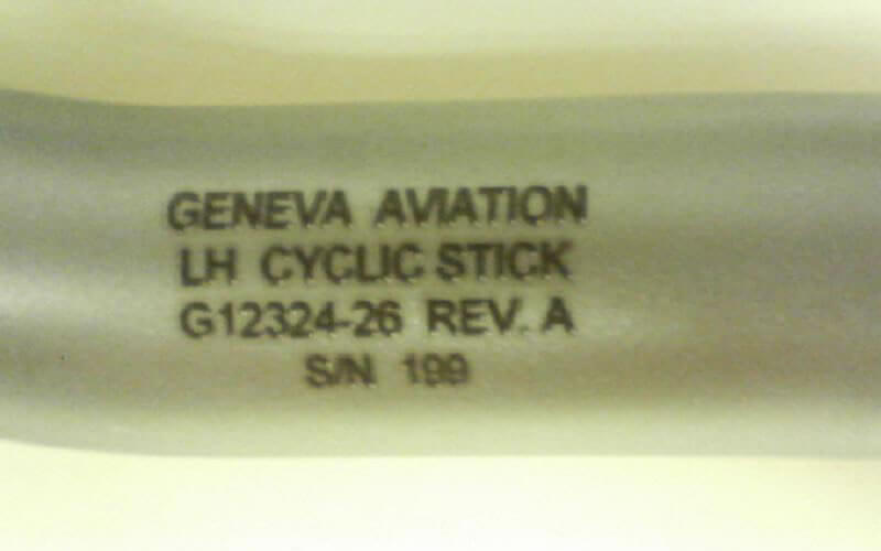 Helicopter Cyclic Stick Laser Engraved With Manufacturer's Name And FAA Part Number