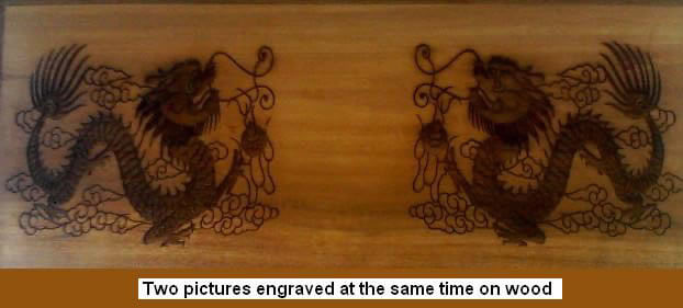 Laser Marked Wood With A Pair Of Intricately Designed Dragons And Attractive Charred Look