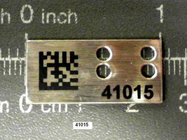 Stainless Steel IUID Label Marked Per Military Standard 130 Part Number Only Specification