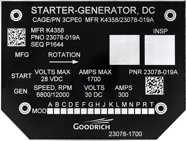 Goodrich DC Starter-Generator Nameplate For Aerospace OEM
