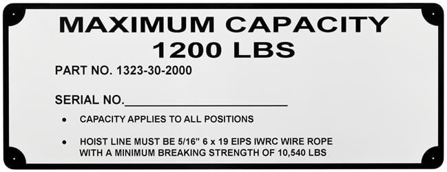Hoist Line Maximum Capacity Label With Corner Mounting Holes