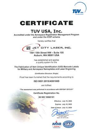 ISO9001-2015-AS9100D-Certification-2020-2023-Jet-City-Laser