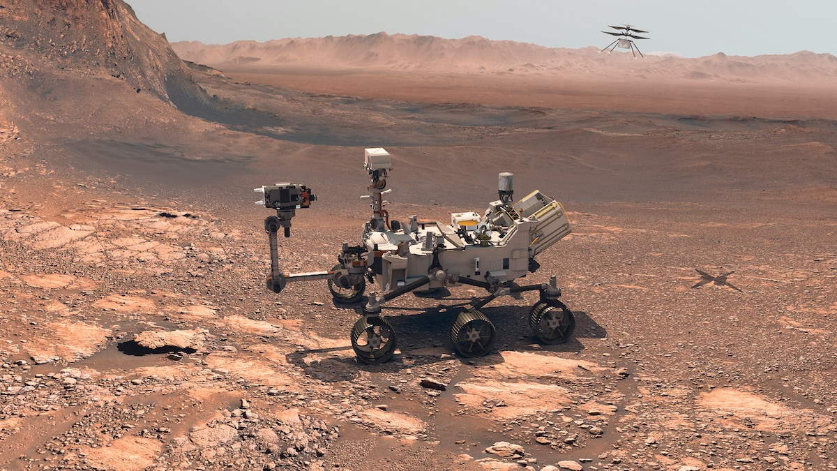 NASA Mars Perseverance Rover On The Rocky, Red Martian Surface - 3D Rendering