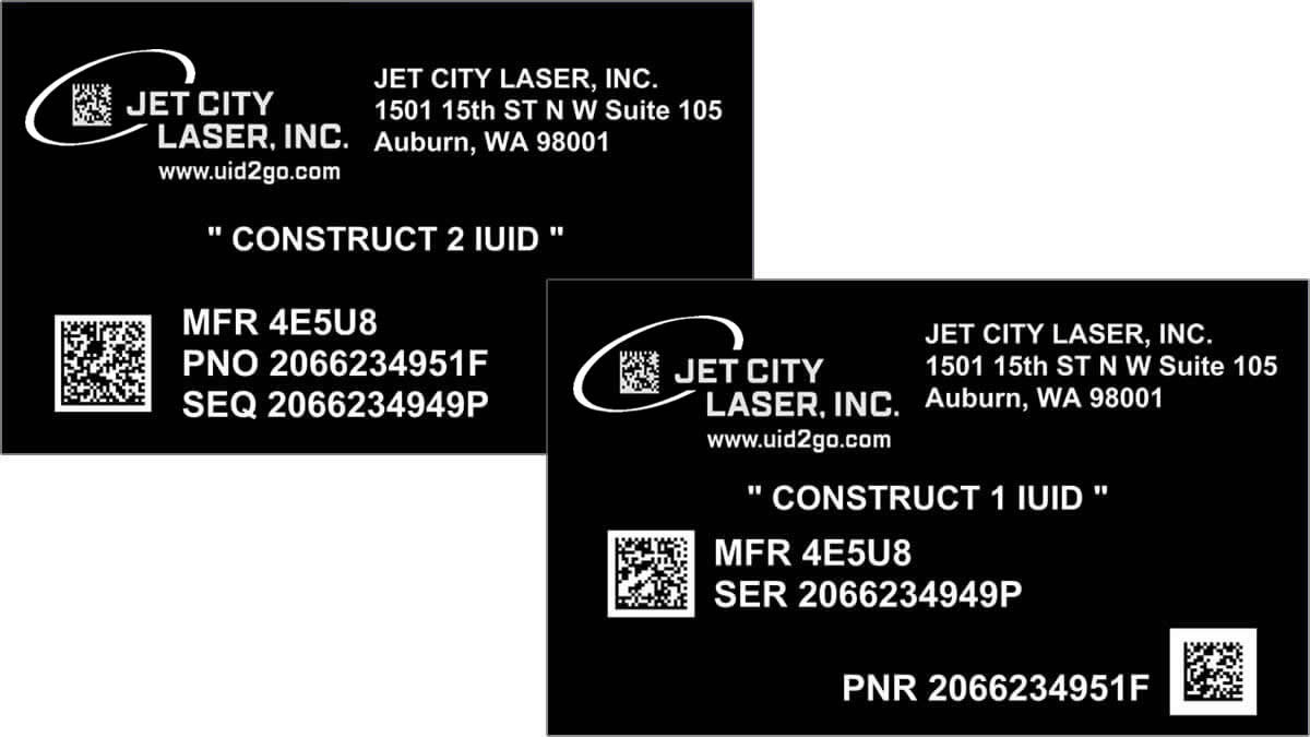 Construct 1 and Construct 2 IUID (Item Unique Identifier Data) Nameplates