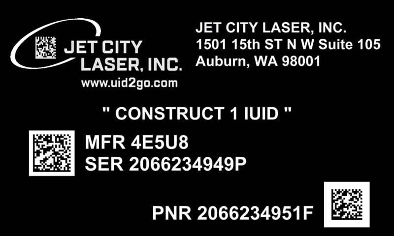 Construct 1 IUID Nameplate JCL